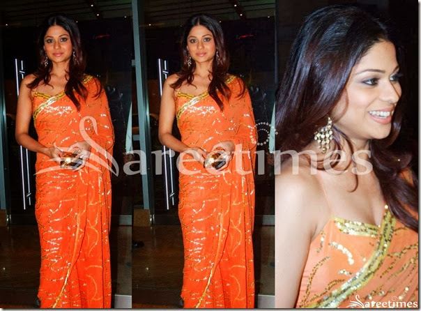 Shamita_Shetty_Orange_Embroidery_Saree