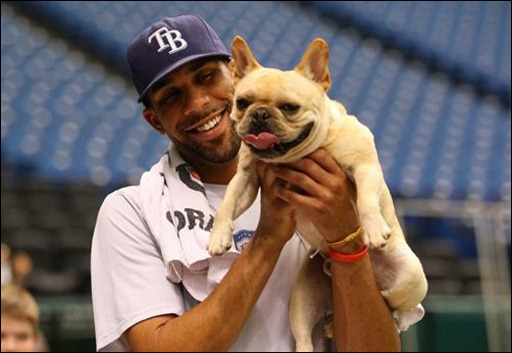Tampa Bay Rays starting pitcher David Price plays with his dog