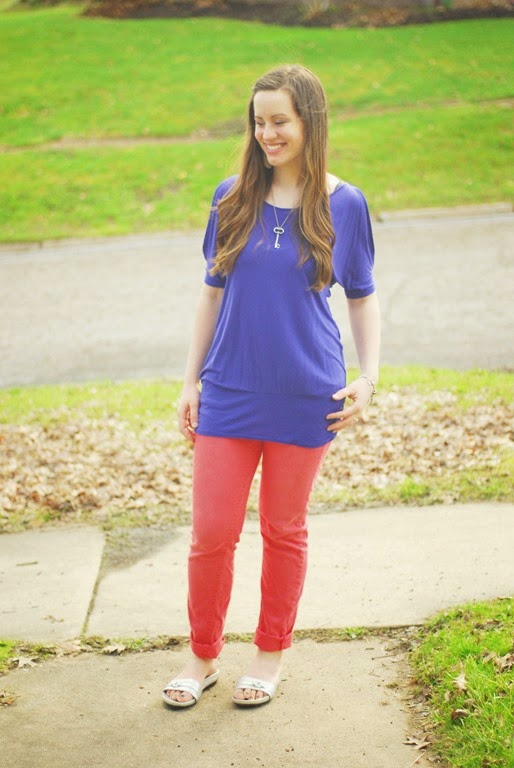coral pants, indigo shirt
