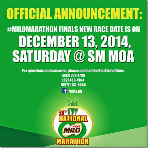 38th Milo Marathon New Date