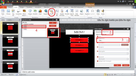 Membuat Efek hover dengan Powerpoint - Pengaturan action button