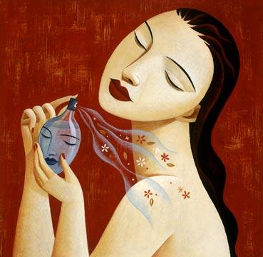 Mulher se perfumando