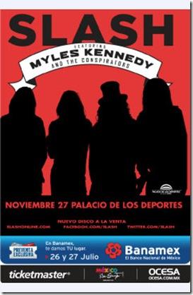 flyer concierto Slash en Mexico 2012 noviembre 27 palacio de los deportes comprar boletos disponibles ticketmaster