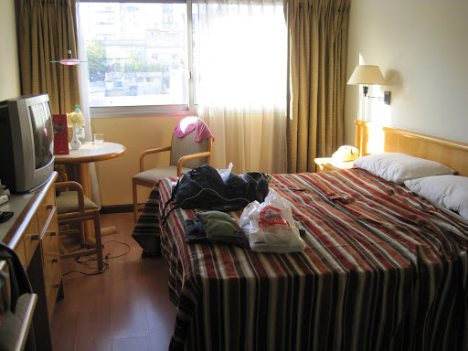 Luxury for 1 night in our $82 three-star hotel room following the disaster at our first hostel.