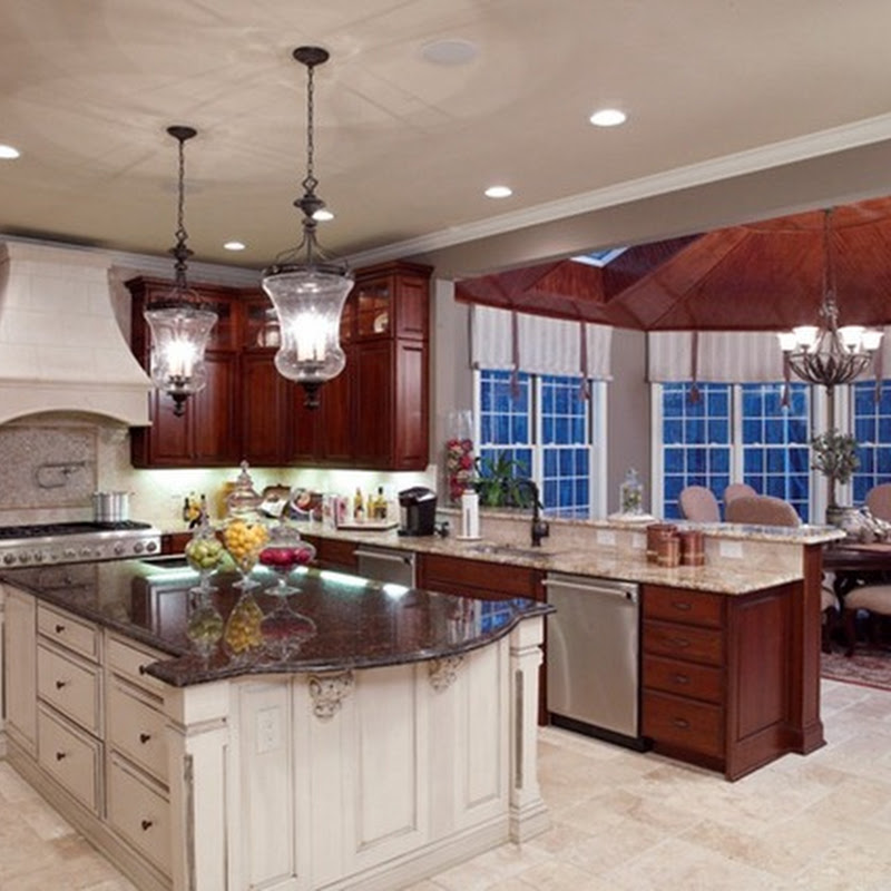 White Kitchen Cherry Wood Island