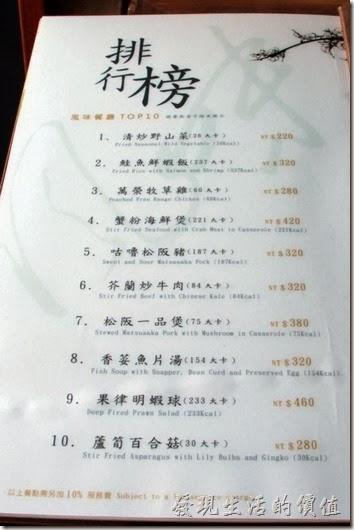 花蓮-理想大地渡假村中餐廳。這裡還有菜單的排行榜。