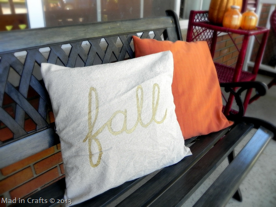 Front Porch Fall Colors painted fall pillow