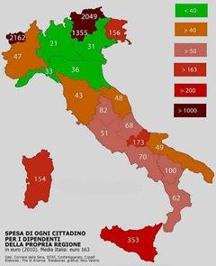 Spesa cittadino per dipendenti propria Regione 2010