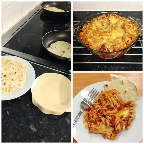 pasta and flatbread