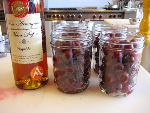 Sweet Cherries in jars. Ready for the booze.