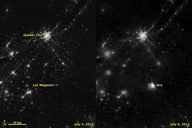 The picture on the left was taken on 4 July 2013, before the oil explosion, while the image on the right is from 6 July 2013, when the accident occurred. Photo: NASA