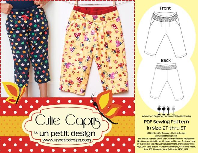 Un Petit Design - Cutie Capris PDF Pattern