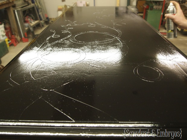 Using Vinyl as a Stencil with Wood Grain Showing Through! {Sawdust and Embryos}