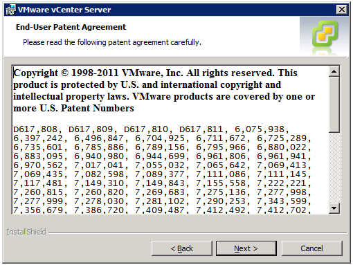 VMware vCenter Server Installer - End-User Patent Agreement