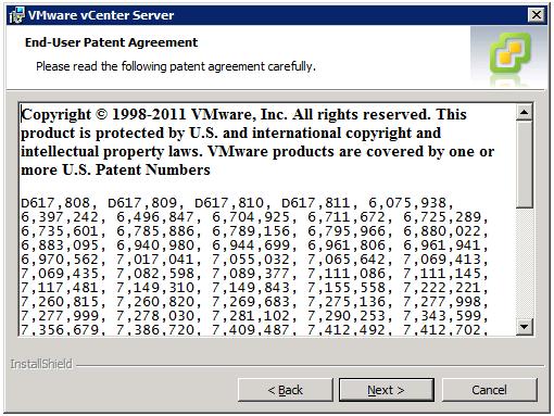 VMware vCenter Server Installer - End-User Patent Agreement