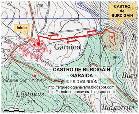 Mapa castro Burdigain - Garaioa
