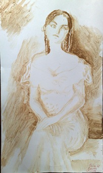 Portretul Otiliei Marculescu din Enigma Otiliei pictat cu cafea