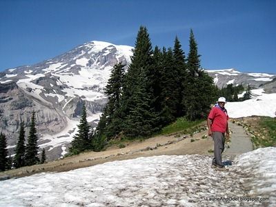 Odel on snow at Mt. Rainier