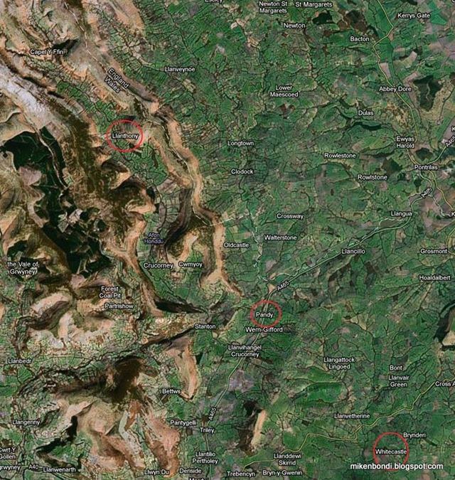 White Castle to Llanthony (marked)