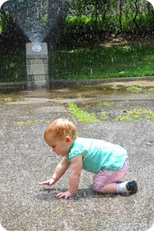 Twin's first NYC Water Sprinkler Experience