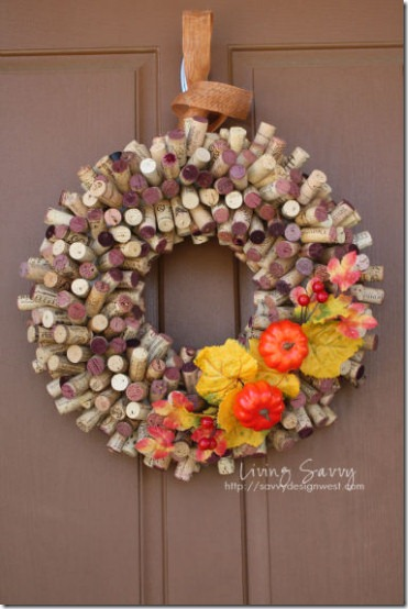 friday feature--fall wreath made out of wine corks from living savvy blog