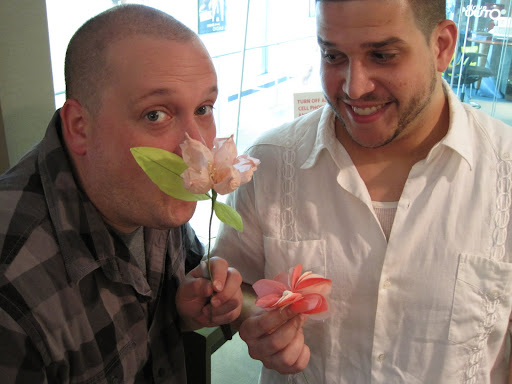 The dudes, Chris (left) and Steve, proudly display their finished flowers. Want to make this craft?