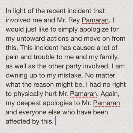 Melissa Mendez's public apology on Instagram