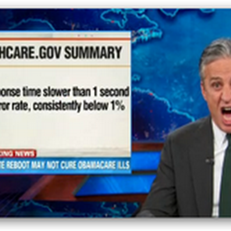 Jon Stewart At the Daily Show Congratulates Healthcare. Gov For Improving the Website (Video)