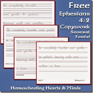 Free Ephesians 4:2 Copywork pack in multiple fonts