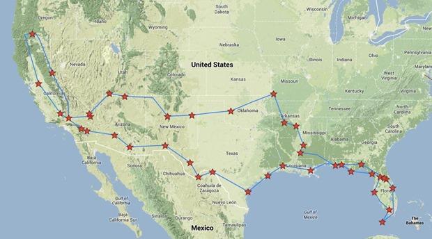 entire trip map