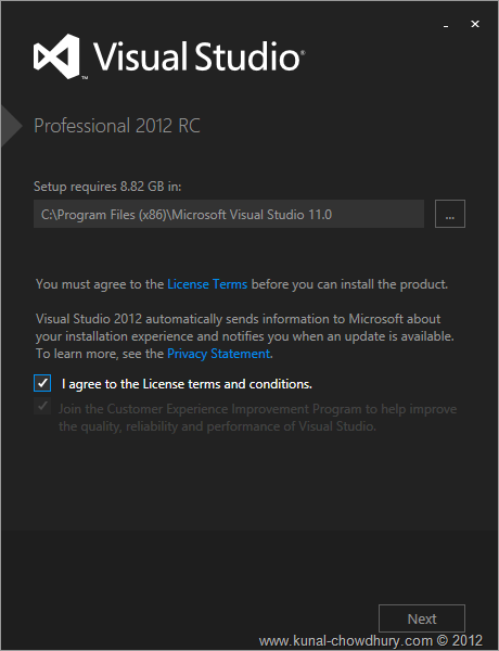 VS2012 Installation Experience - Screen 1 - Agreement