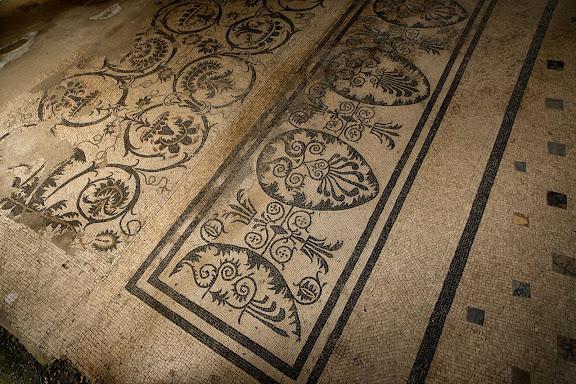 Mosaicos de las termas suburbanas de Puerta Marina. Antigua ciudad romana de Pompeya. Pompeya, Italia