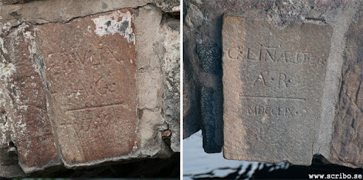 Kvarnbrons två slutstenar som nämner Peter Julin och Carl von Linné.