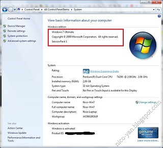 Windows 7 SP1 System Properties Image