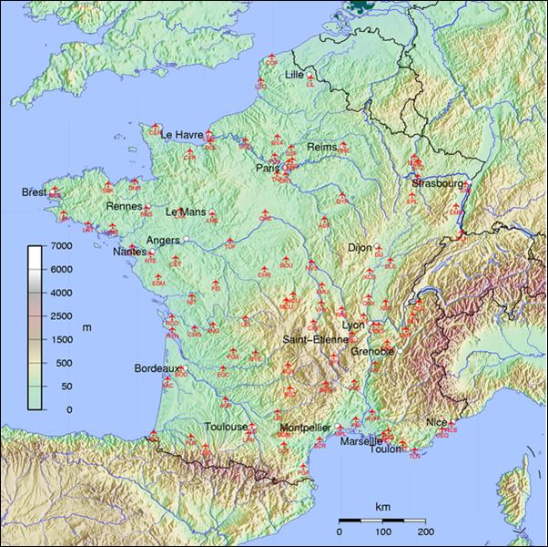 خريطة مطارات فرنسا