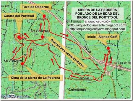 Mapa ruta sierra de la Pedrera - castro del Portitixol