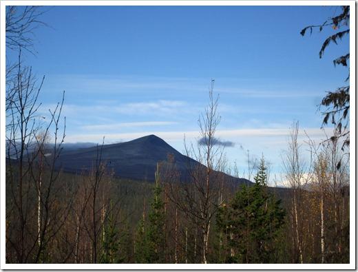 Ja men kolla inte bara skog och myrar ett rejält berg kikar fram. Tjoho jag är inte lost in the woods.