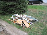 The rubble pile from just one of the old windows - a lot more than you'd expect!