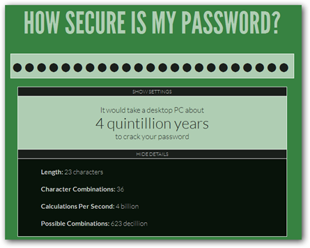 Ejemplo de How Secure Is My Password?