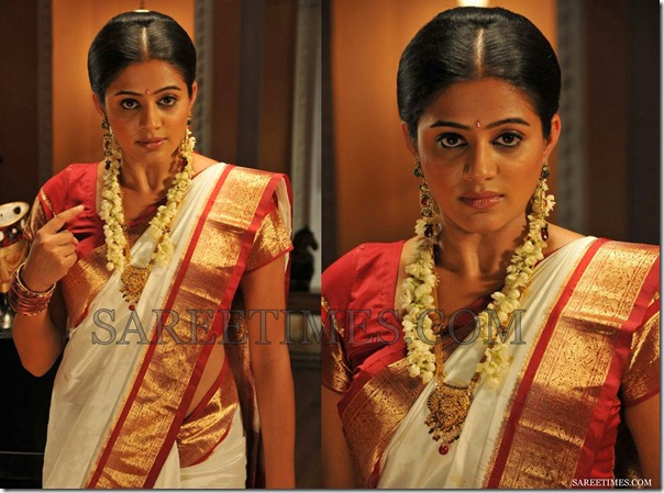 Priyamani_White_Traditional_Saree