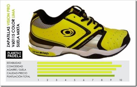 Análisis Zapatillas pádel VISION pro V60115 Color Verde/Lima suela mixta.