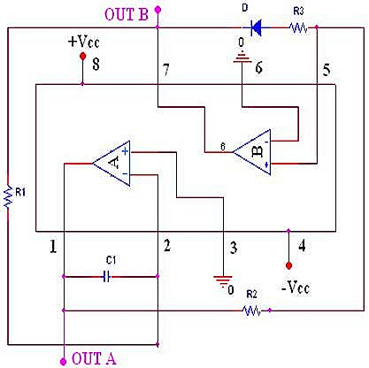 Triangular wave generator Circuit Diagram