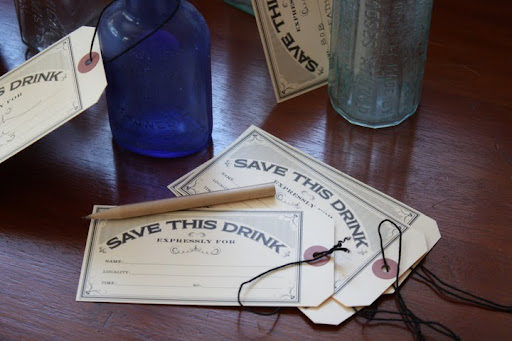 The drink tags, designed by Hello!Lucky, were filled out by guests as they put their drinks down to wander the galleries during cocktail hour. This guaranteed that they wouldn't be cleared away before the guest returned.