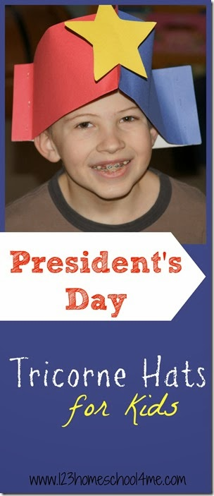 Presidents Day - Super cute and easy to make Tricorn hats Kids Activity