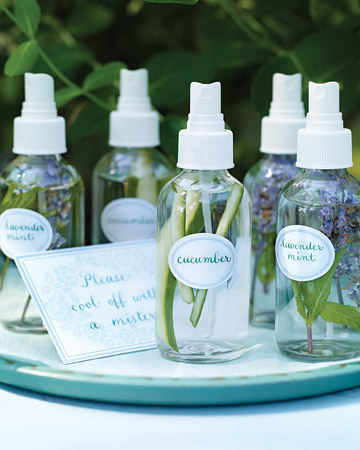 A refreshing spritz of fragrant water is a great way to keep cool at the beach. Fill mist bottles with water and a few strips of cucumber or sprigs of lavender and mint. (marthastewart.com/272642/all-natural-mists)