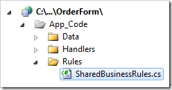 SharedBusinessRules class in Visual Studio.
