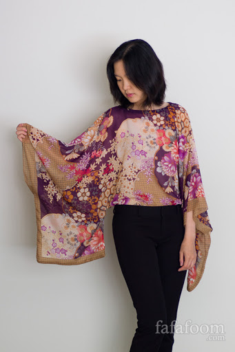 DIY Scarf Top with Kimono Sleeves