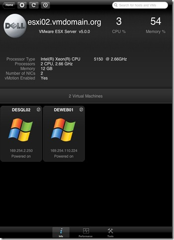 iPad vSphere Client Host Status