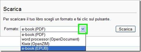Wikipedia scegliere formato di download articolo