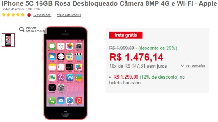 super oferta iphone 5c rosa da gisele e da alice